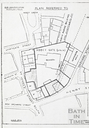 Plan highlighting buildings around Weymouth School possibly 1930s?