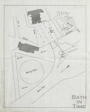 Tracing of map of Orange Grove, Monks Mill Bowling Green and Parade Gardens (original noted as in Town Clerk's collection) early 18thC original c.1900