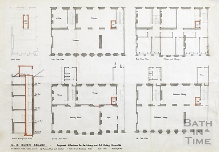 16 - 18 Queen Square proposed alterations for the Library & Art Gallery Committee - plans and section - Wilkinson June 1960
