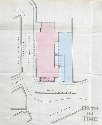 Plan of Bath Royal Literary and Scientific Institution (BRLSI) building and adjacent structure (possibly cellars or proposed extension) (1920s?)