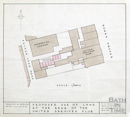 Proposed use of land (for garages) at rear of United Services Club, Queen Square, Palace Yard Mews - W A Williams architect 1955