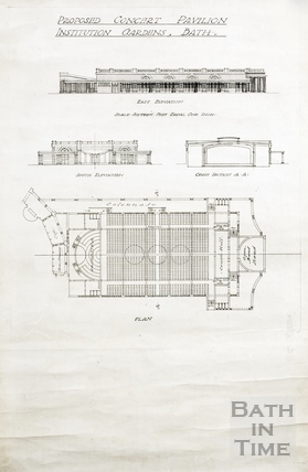 Proposed Concert Pavilion, Institution Gardens - elevations, cross section and plan (Parade Gardens) (1930s?)