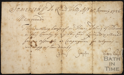 Memorandum from the Bath & Somerset Baptist Church Jan 1726