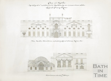 Design for additional buildings in connection with Grand Pump Room - elevations towards Abbey Churchyard 1894