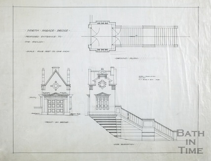 North Parade Bridge - proposed entrance to the Pavilion - plan & elevations of tollbooth. A J Taylor architect, 4&5 Bridge Street, March 1930