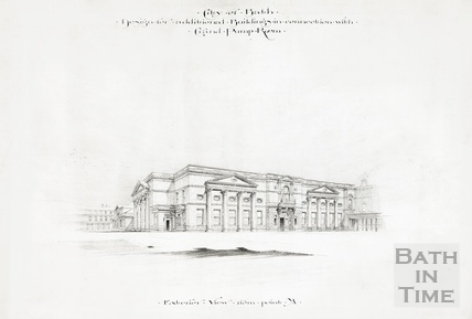 Design for additional buildings in connection with Grand Pump Room - exterior view from NE corner of Abbey Churchyard 1894