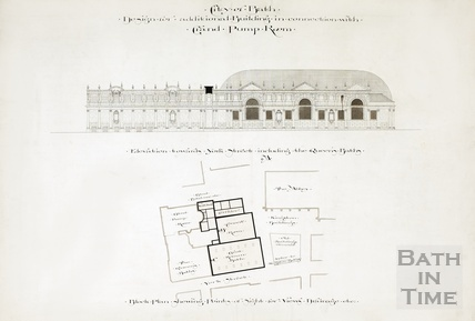 Design for additional buildings in connection with Grand Pump Room - elevation toward York Street & block plan 1894
