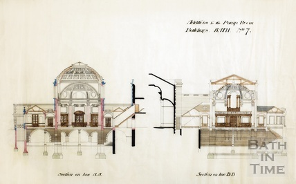 Addition to the Pump Room buildings - sections through concert hall - Scheme no.7 - A J Taylor architect c.1890s?