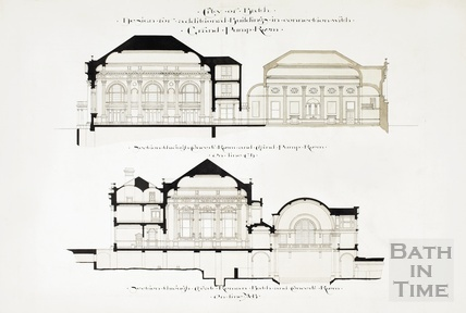 Design for additional buildings in connection with Grand Pump Room - sections through concert room and Grand Pump Room 1894