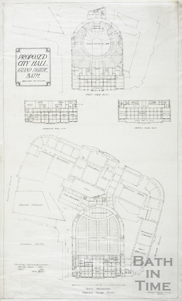 Proposed city (concert) hall, Grand Parade - first, mezzanine & second floor - ground floor including Guildhall & Technical Schools - AJ Taylor (1930s)