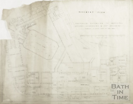Proposed extension to Municipal offices, libraries and art gallery (Guildhall) - basement plan - AJ Taylor & AC Fare 1936