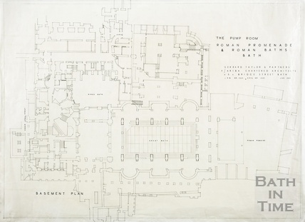 Pump Room Roman promenade and Roman Baths - basement plan - DWG1939 - Gerrard, Taylor & Partners January 1955