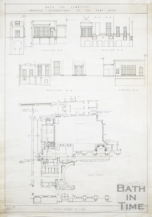 Bath Spa Committee proposed alterations at the Pump Room - sections & (ground floor) plan - AJ Taylor & AC Fare April 1937