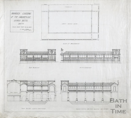 Proposed covering of the promenade at the Roman Baths - plan, elevations, cross section, longitudinal section - A J Taylor 1930s?