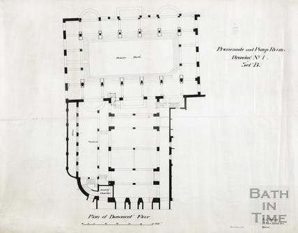 Promenade & Roman Bath - basement plan - drawing no.1, series B, block plan - AJ Taylor September 1904