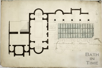 Great Roman Bath - plan detail of stonework - AJ Taylor 18 New Bond Street, 1910s?