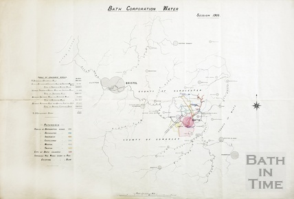 Bath Corporation Water - table of drainage areas & showing intended works 1903