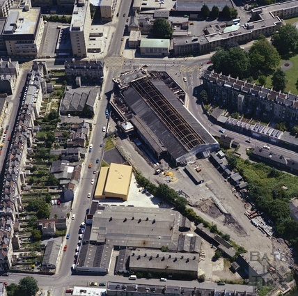 1981 Aerial view of Bath showing the unrestored Green Park Station 29 Sept