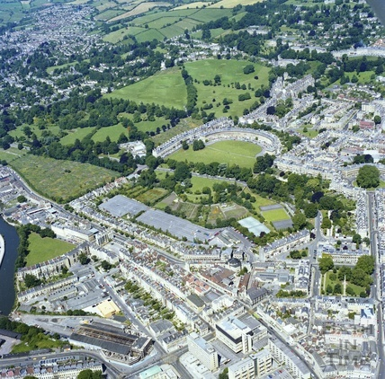 1981 Aerial view of Bath looking towards the Royal Crescent 29 Sept