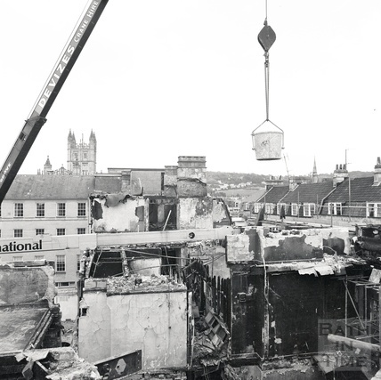 The demolition of the north side of Bath Street, August 1986