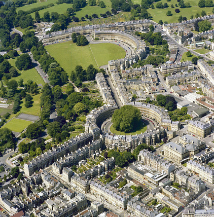 1981 Classic aerial view of Bath showing The Circus, Brock Street and the Royal Crescent 29 Sept