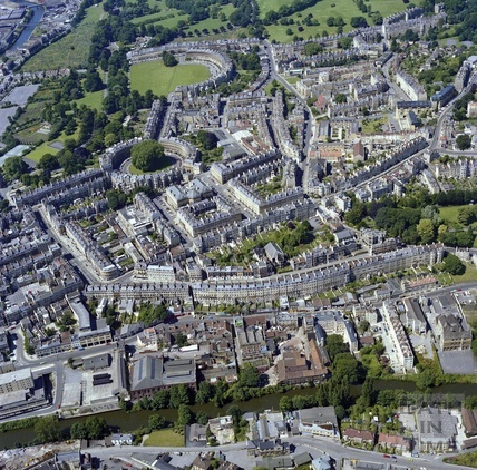 1981 Aerial view of Bath from the River Avon, across the Paragon to The Circus and Royal Crescent 29 Sept