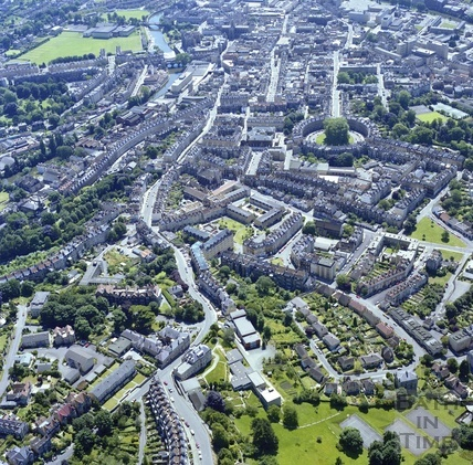 1981 Aerial view of Bath from Lansdown looking towards The Circus and city centre 29 Sept