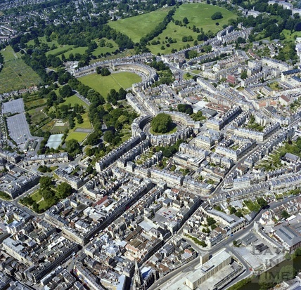 1981 Aerial view of Bath showing the Georgian developments outside the city walls 29 Sept