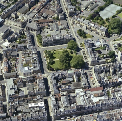 1981 Aerial view of Bath showing Queen Square, Queens Parade and Milsom Street 29 Sept