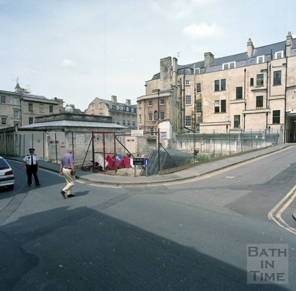 The cleared site of the Beau Street Baths, giving an uninterrupted view of the old Technical College, soon to be Gainsborough Hotel, Beau Street and Bilbury Lane, Bath c.1998