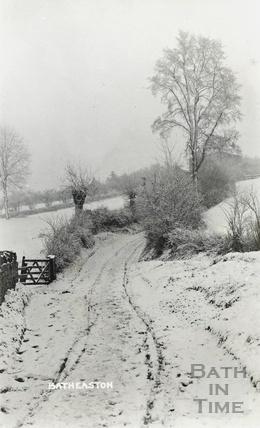 A snowy Steway Lane, Batheaston, c.1920s