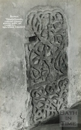 Runic transitional Saxon Cross, north side of chancel, Kelston Church c.1930s