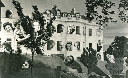 An amusing montage of faces on the former Bath HIgh School, Lansdown Road, c.1950s