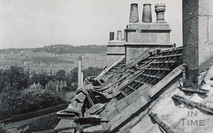Bomb damaged roof in Sydney Buildings 1942