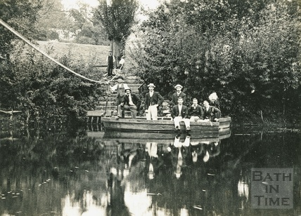 A group of gentlemen on the Warleigh Ferry c.1892