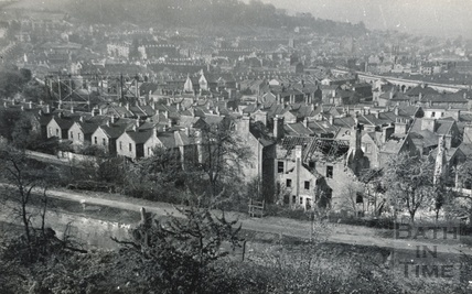 View of bomb damaged buildings, Widcombe, Bath 1942