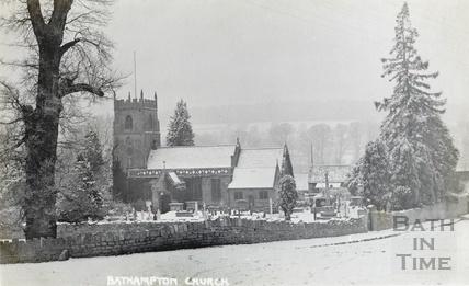 A snowy St Nicholas church at Bathampton c.1920s