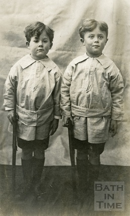 Rupert and Roy, the photographer's twin boys, playing soldiers c.1918