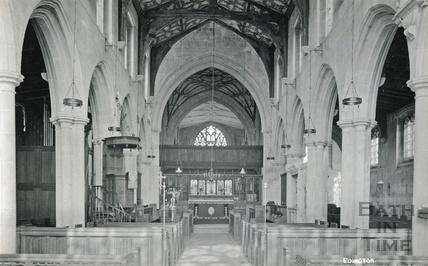 Interior of the church at Edington c.1920s