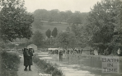 A pleasure boat departs from Dundas Aqueduct c.1934