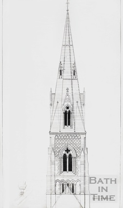 Tracing of the first design for the spire for St Andrews church by George Gilbert Scott c.1871