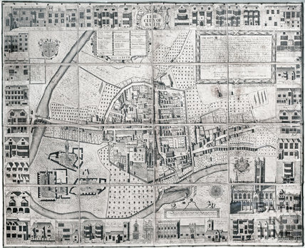 Complete Joseph Gilmore Map of the City of Bath 1694-1717