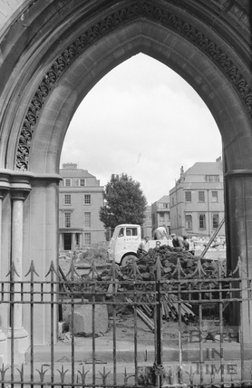 Looking through the east door of St Andrews church, Julian Road during demolition c.1958