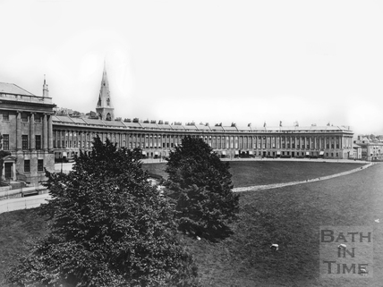 The Royal Crescent with grazing sheep and St Andrews spire seen behind c. 1900