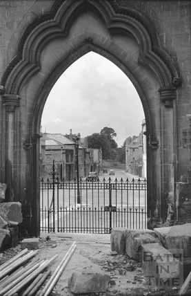 Looking through the west door of St Andrews church, Julian Road during demolition c.1958