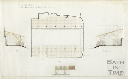 Proposed roof for rectangular Roman bath - plan, sections, elevation - Charles E Davies 1910s?