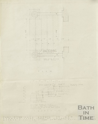 Pump Room, detail of new pennant stone steps at entrance - plan & section - AJ Taylor & Partners April 1947
