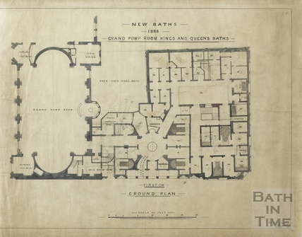 New baths 1888, Grand Pump Rooms, King's & Queen's Baths - ground floor plan - AJ Taylor November 1913