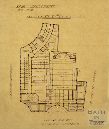 Baths development - [Grand Pump Room Hotel site, Stall Street & Bath Street] site no.2 - ground floor plan - AJ Taylor June 1913