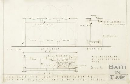 Proposed stillage to Pump Room bar - elevation, section, plan - 1939/6 - Gerrard, Taylor & Partners May 1955